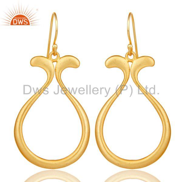 18k Yellow Gold Plated Handmade Temple Design Brass Drops Earrings Jewellery