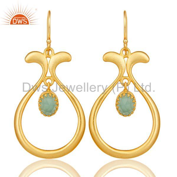 18K Yellow Gold Plated Handmade Temple Design Aqua Cultured Brass Drops Earrings