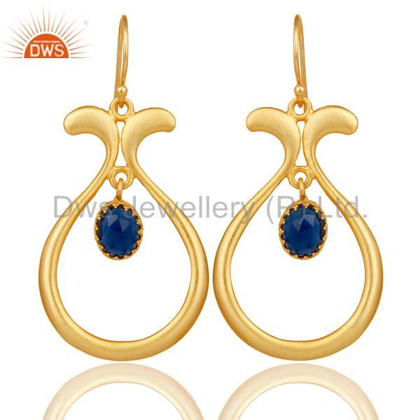 18K Gold Plated Handmade Temple Design Blue Corrundum Brass Dangle Earrings