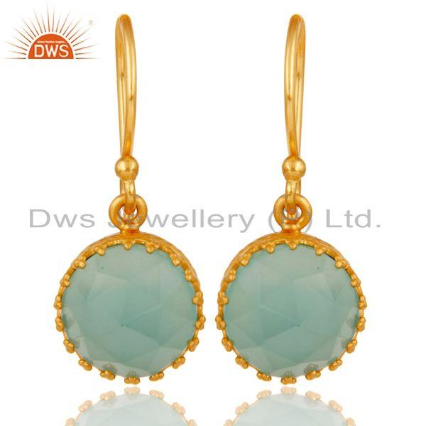 Traditional Handmade Design 18k Yellow Gold Plated Dangle Aqua Brass Earrings