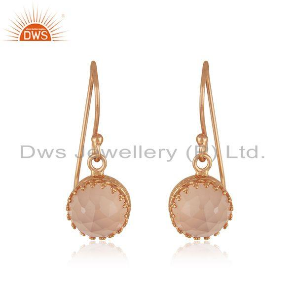 Rose Chalcedony Gemstone Rose Gold Plated Brass Fashion Earring Supplier