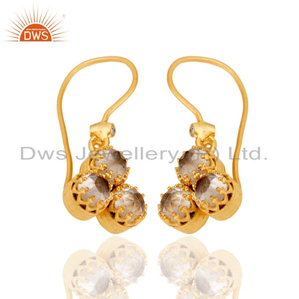 22k Yellow Gold Plated Brass Dangle Earring With White Zirconia & Crystal Quartz