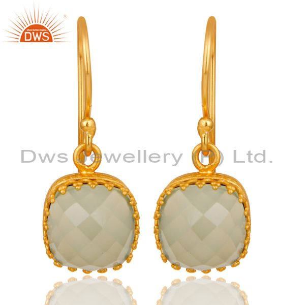Traditional Handmade Design 18k Yellow Gold Plated Chalcedony Brass Drop Earring