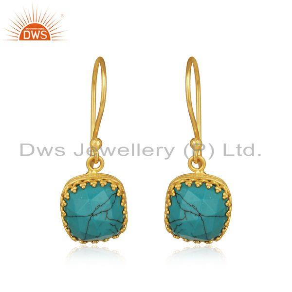 Matrix Turquoise Gemstone Gold Plated Brass Earrings Manufacturer