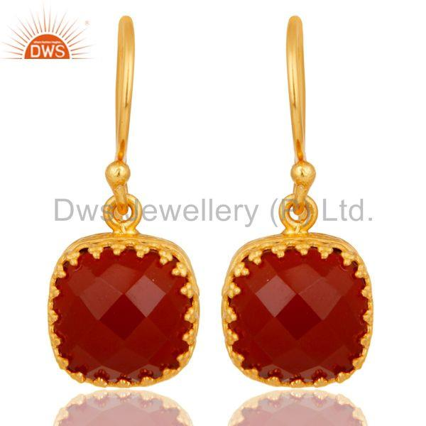 Handmade Square Cut Design 18k Yellow Gold Plated Red Onyx Brass Drop Earrings