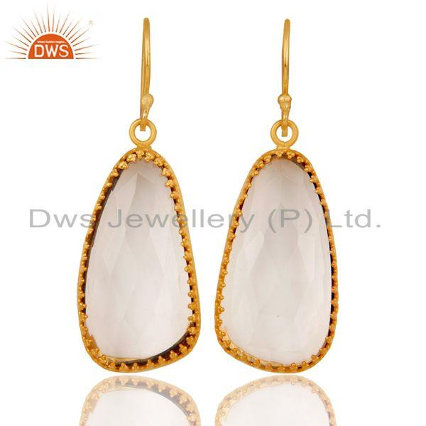 18K Yellow Gold Plated Handmade Simple Setting Crystal Quartz Brass Earrings