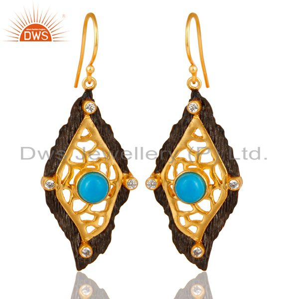 Indian Designer Gold Plated Brass Fashion Gemstone Earrings Supplier