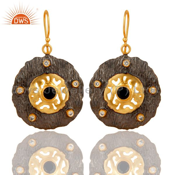 Black Onyx Gemstone Black and Gold Plated Brass Fashion Earrings