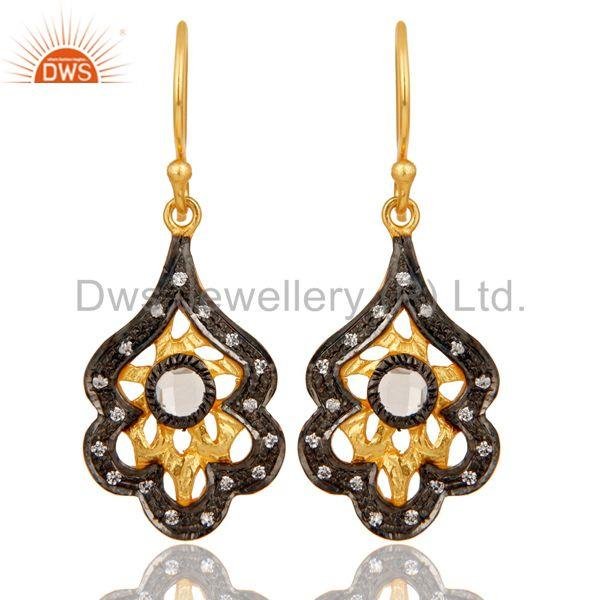 New Fashion Handmade Design Brass Earrings With 18k Gold Plated & White Zirconia