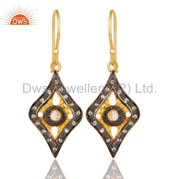 Traditional Handmade Design White Zirconia Brass Earrings With 18k Gold Plated