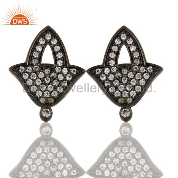 Black Oxidized Fashion Lilghting Look White Zirconia Brass Studs Earrings
