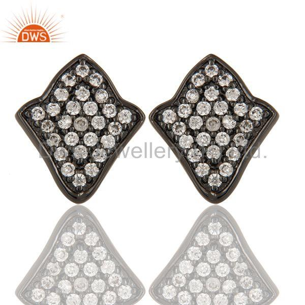 Black Oxidized Fashion Lighting Style White Zirconia Brass Stud Earrings