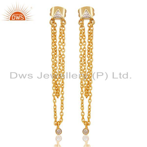 White Zirconia Fashion Link Chain Brass Drops Earrings With 18k Gold Plated