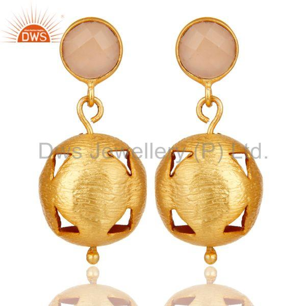 18K Yellow Gold Plated Handmade Dyed Chalcedony Gemstone Dangle Brass Earrings