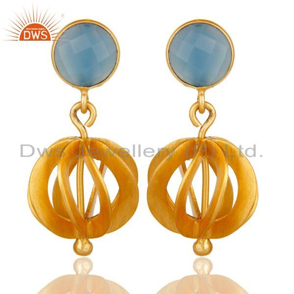Blue Chalcedony Gemstone Gold Plated Brass Fashion Earrings Jewelry