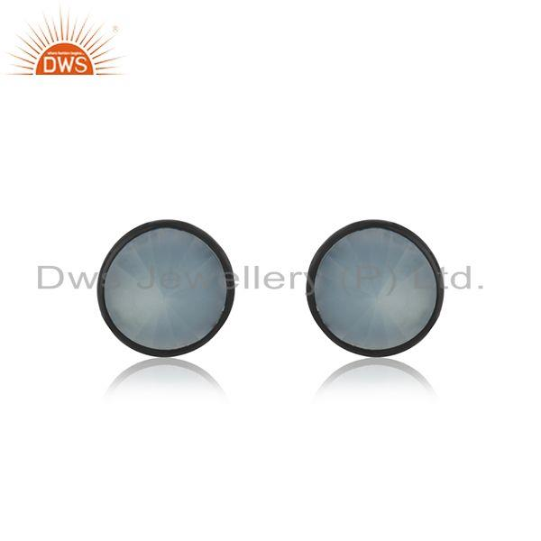 Aqua Chalcedony Gemstone Brass Fashion Black Stud Earrings Manufacturer India