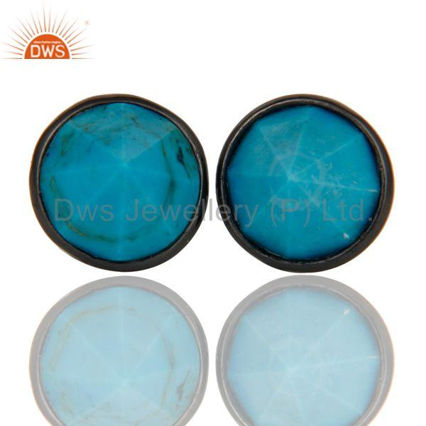 Turquoise Pointed Fashion Studs Earrings With Black Oxidized