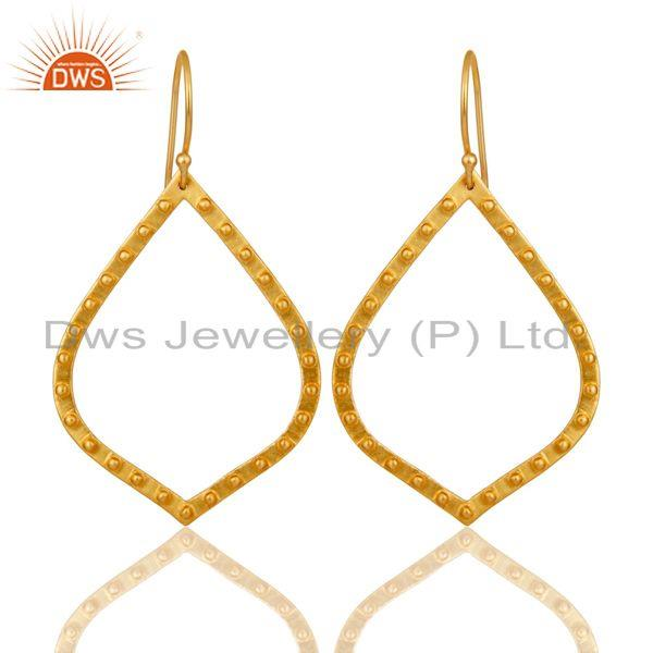 Traditional Handmade Classic Design 22k Gold Plated Brass Drops Earrings