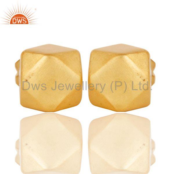 18k Gold Plated Traditional Handmade Beautiful Charm Brass Studs Earrings