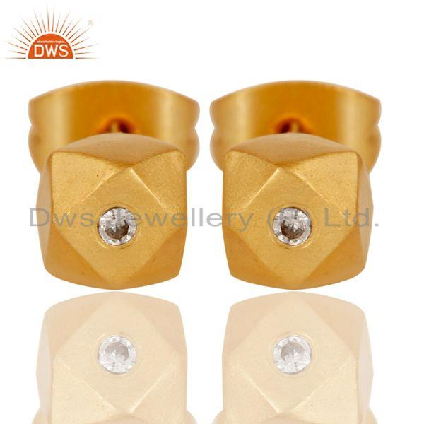 22k Gold Plated Little Flash Stylish White Zirconia Brass Stud Earrings