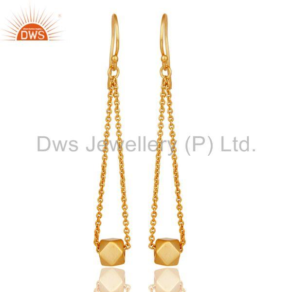 18k Yellow Gold Plated Handmade Classic Fashion Chain Link Brass Dangle Earrings