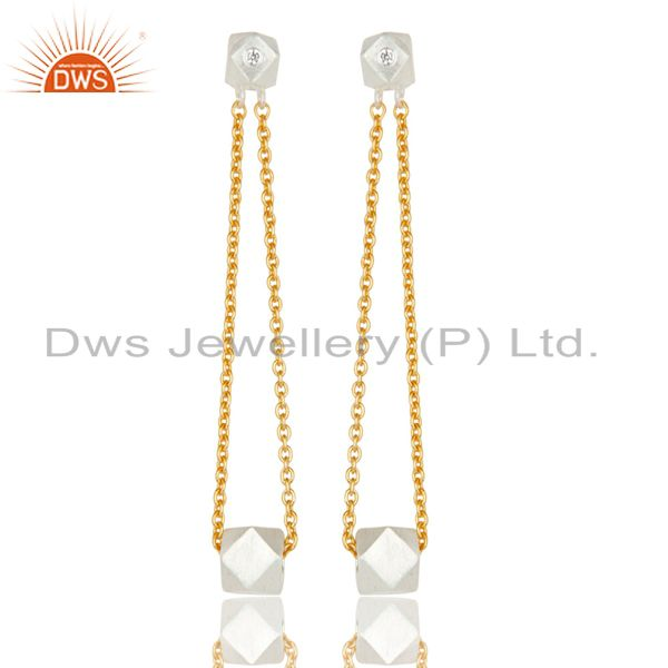 18k Gold Plated & Solid Silver Plated Chain Link White Zirconia Brass Earrings
