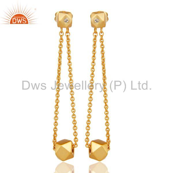 18k Yellow Gold Plated Handmade Chain Link White Zirconia Brass Dangle Earrings