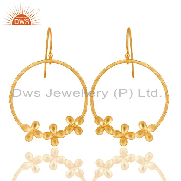 Traditional Handmade Round Flower Design Brass Earrings Made In 14K Gold Plated