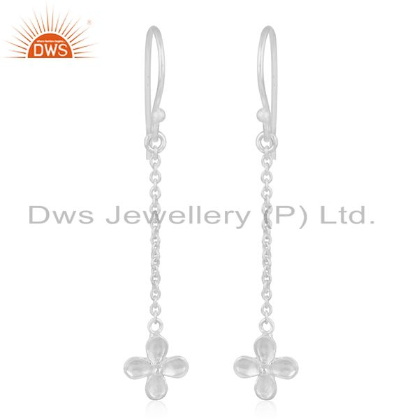 Fine Silver Plated Brass Leaf Design Chain Earring Manufacturer of Jewellery