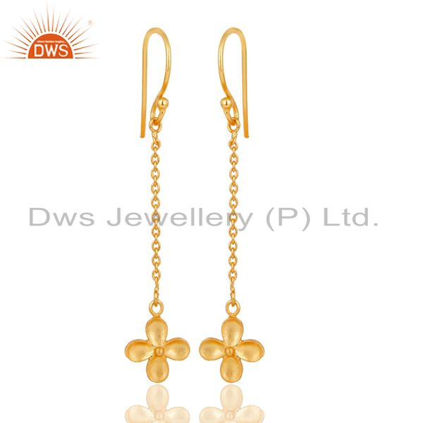 14K Gold Plated Traditional Handmade Link Chain Dangle Brass Earrings