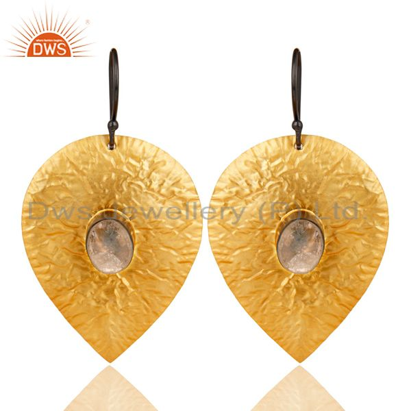 14K Gold Plated Handmade Leaf Design Crystal Quartz Drops Brass Earrings