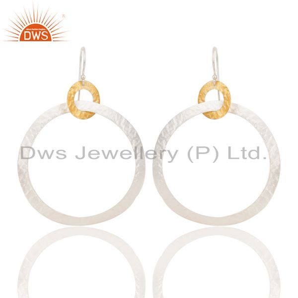 14K Yellow Gold Plated & Silver Plated Handmade Round Dangle Brass Earrings