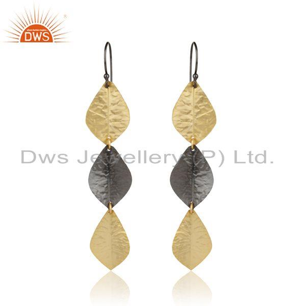 Designer leaf fashion long dangle in yellow gold black rhodium