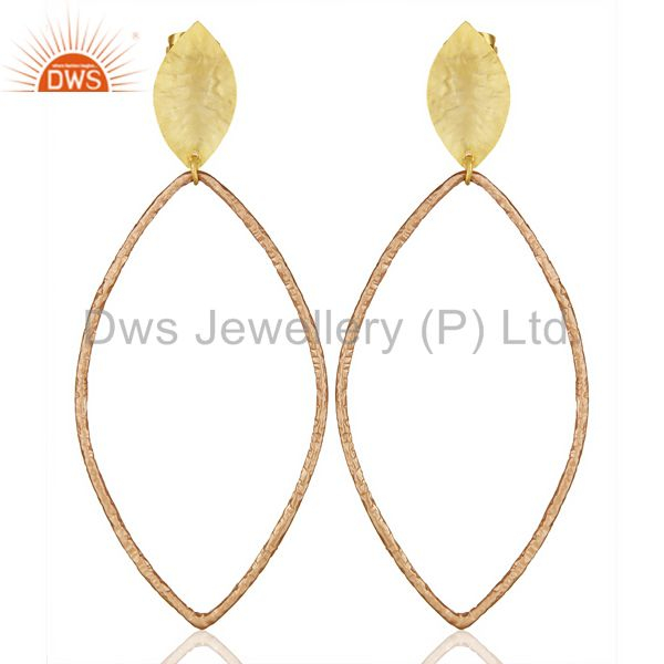 14K Multi Gold Plated Traditional Handmade Fashion Dangle Gift Jewelry Earrings