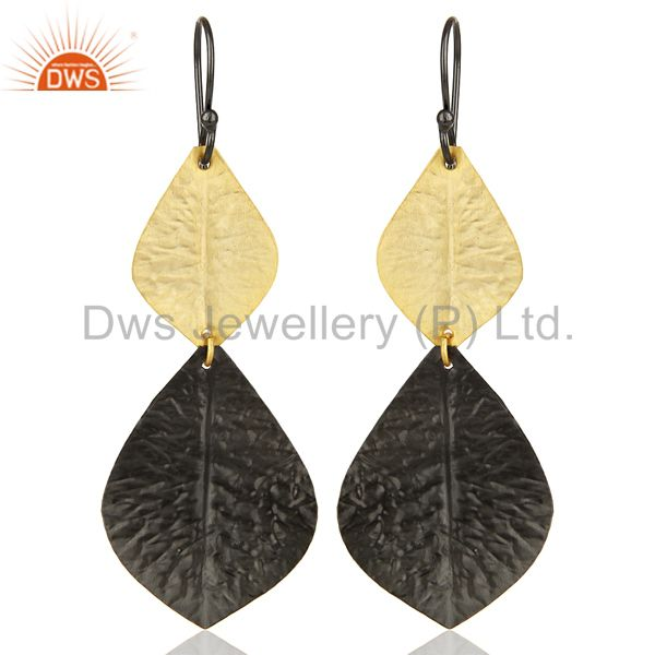 Black Oxidized 14K Gold Plated Handmade Leaf Design Dangle Fashion Earrings