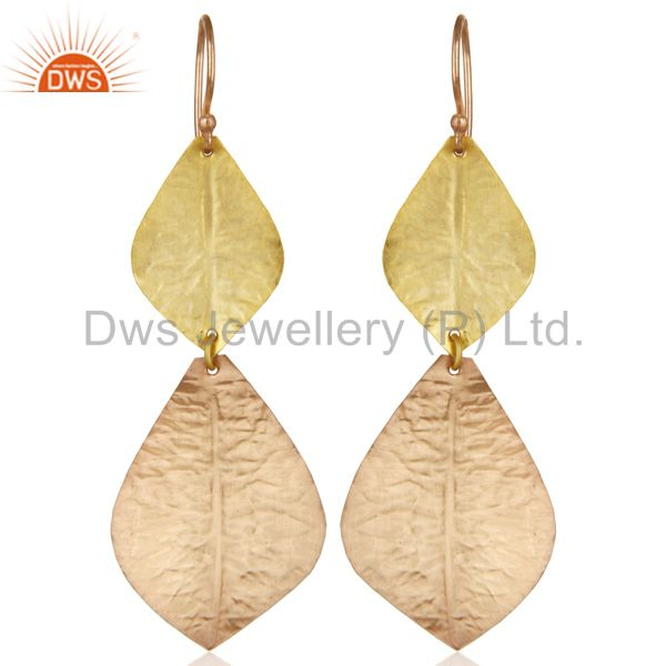 14K Multi Gold Plated Handmade Textured Leaf Design Dangle Earring Gift Jewelry