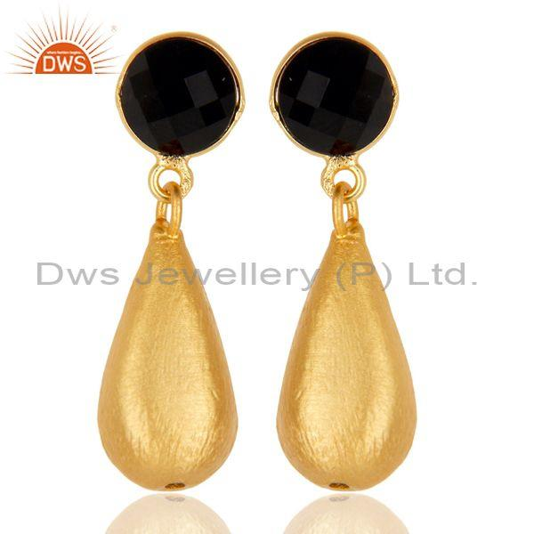 14k yellow gold plated handmade checkered black onyx drops brass earrings