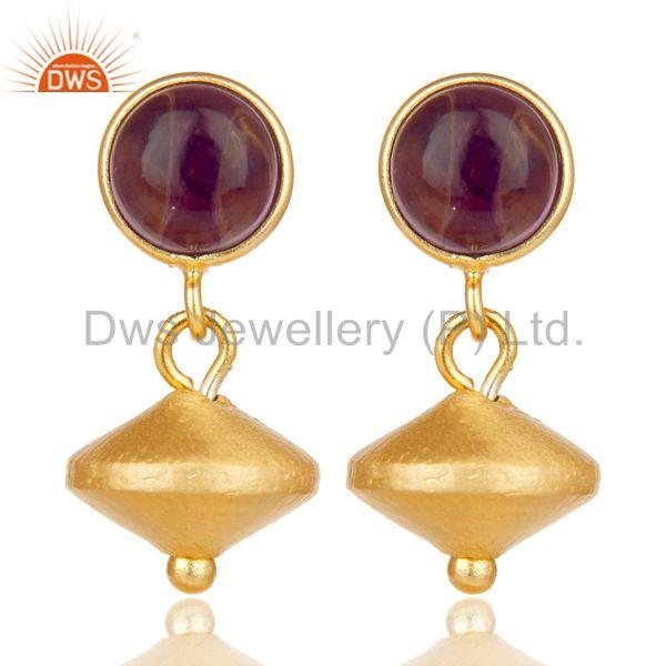 14K Yellow Gold Plated Handmade Dyed Hydro Amehyst Gemstone Drops Earrings