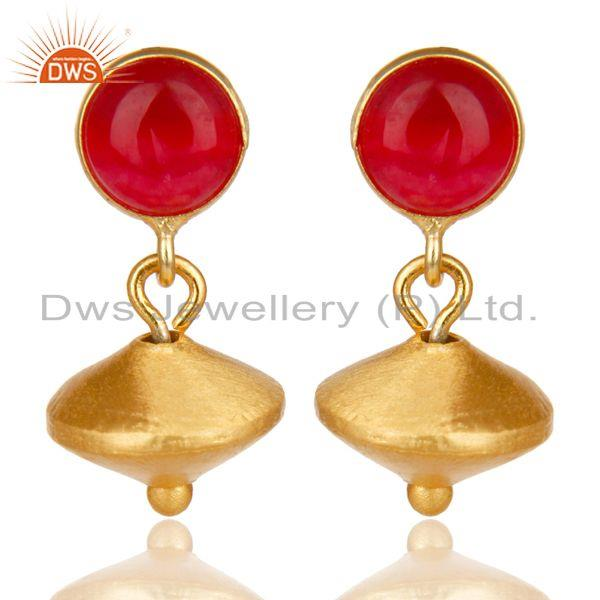 14K Yellow Gold Plated Handmade Red Aventurine Gemstone Drops Earrings