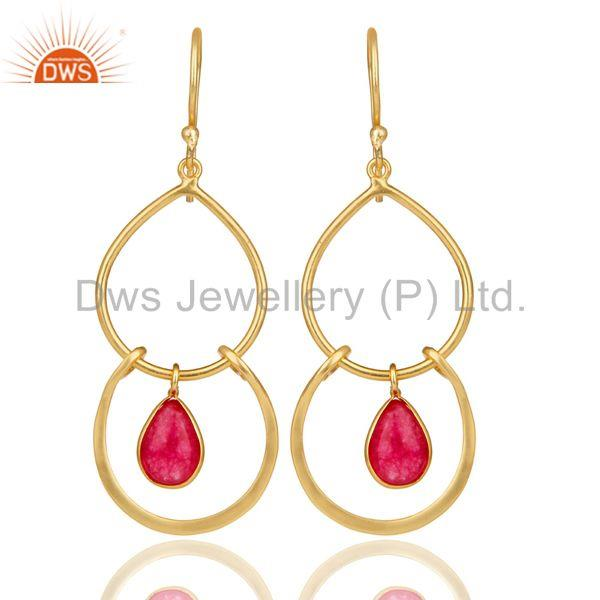 14K Yellow Gold Plated Handmade Natural Red Aventurine Bezel Set Drops Earrings