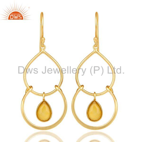 14K Yellow Gold Plated Handmade Dyed Yellow Chalcedony Bezel Set Drops Earrings