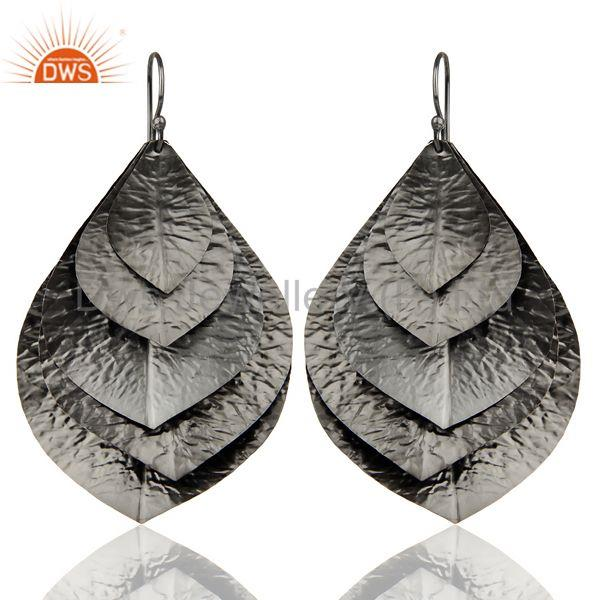 Black Oxidized Traditional Handmade Textured Leaf Design Dangle Earrings