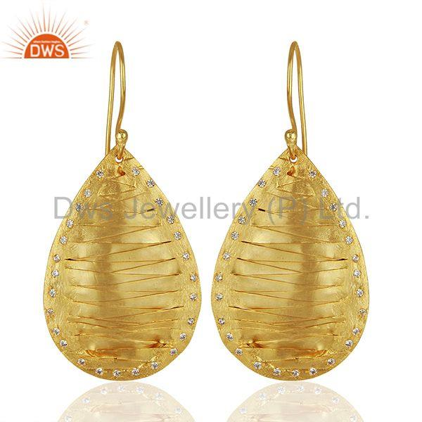 Pear Shape Handcrafted Brass Gold Plated Fashion Earrings Wholesale