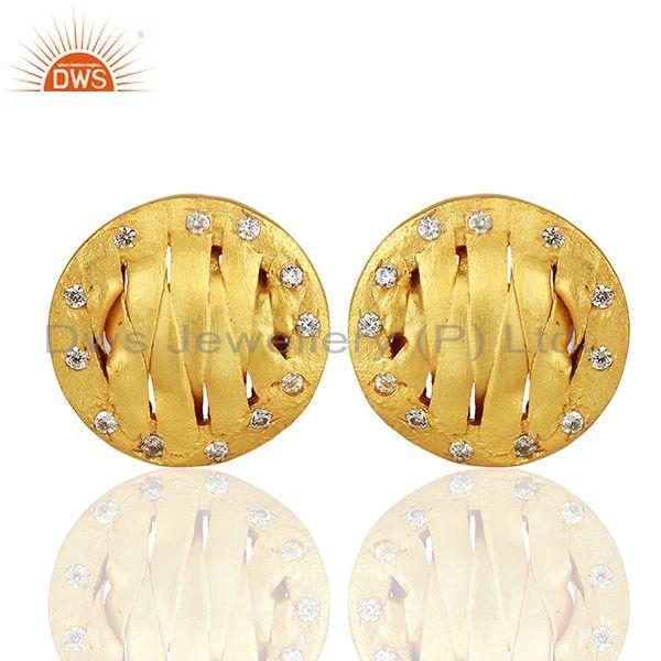 Handcrafted Brass Gold Plated CZ Fashion Stud Earrings Manufacturer