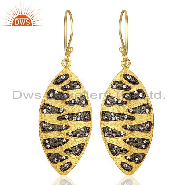 Two Tone Plated Brass White Zircon Fashion Earrings Manufacturers