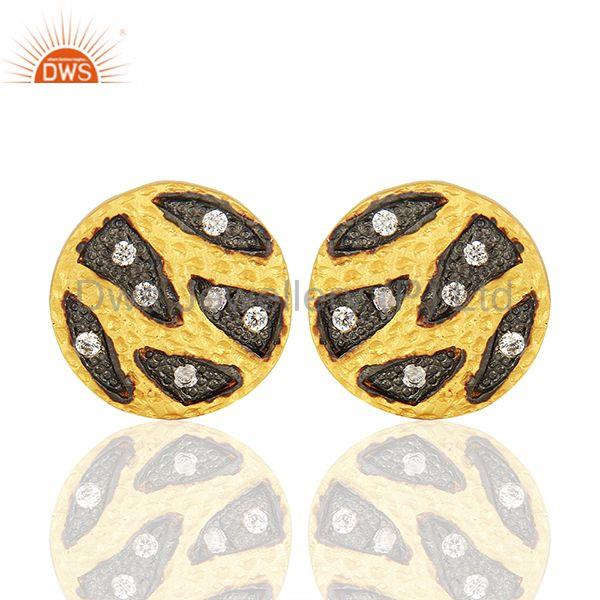 Handmade Brass Two Tone Fashion Zircon Stud Earrings Manufacturers