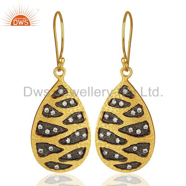 Handmade Gold Plated Brass Fashion White Zircon Earrings Suppliers