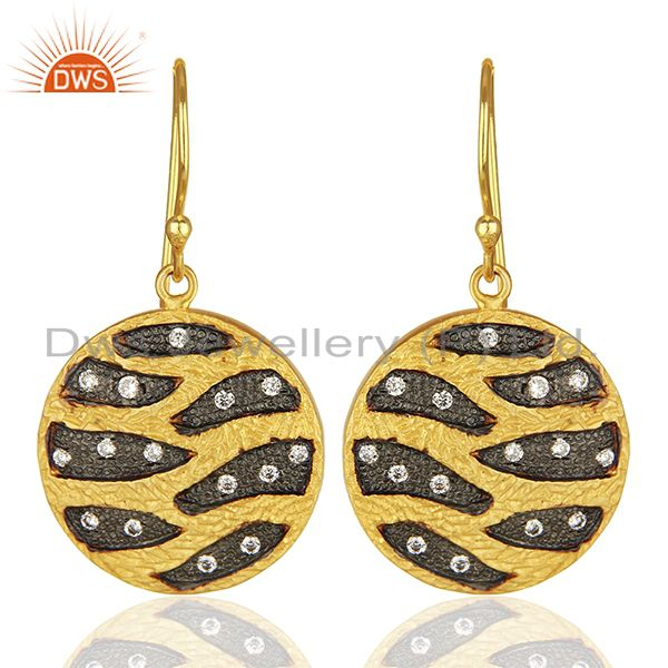 Round Brass Fashion Gold Plated Cz Gemstone Earrings Manufacturers