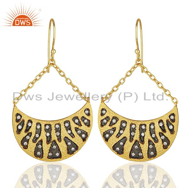 Handmade Two Tone Cz Gemstone Gold Plated Brass Fashion Earrings