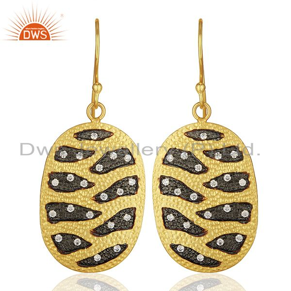 White Zircon Gold Plated Brass Fashion Girls Earrings Manufacturers